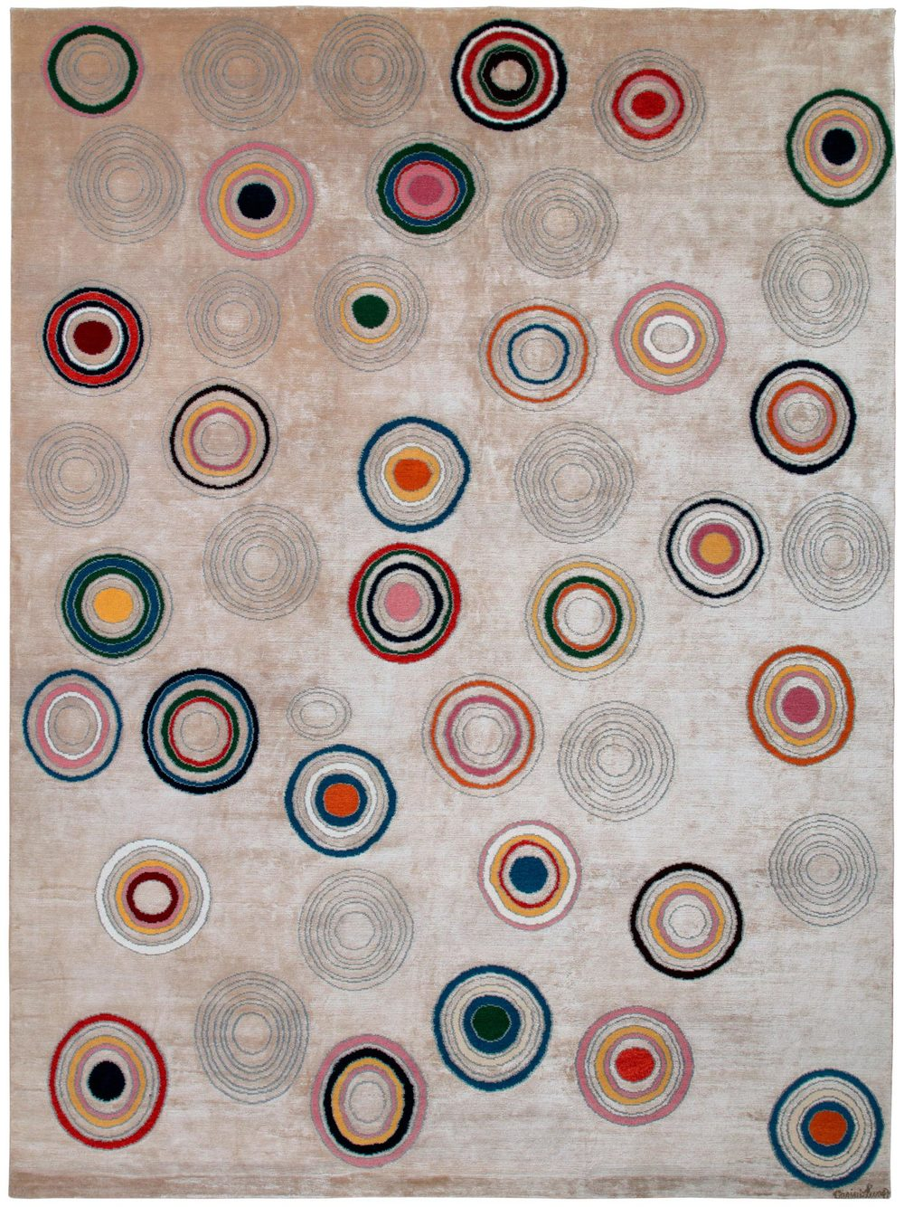 Rai is a design of hypnotic spheres and pops of color. Woven in wool and silk.