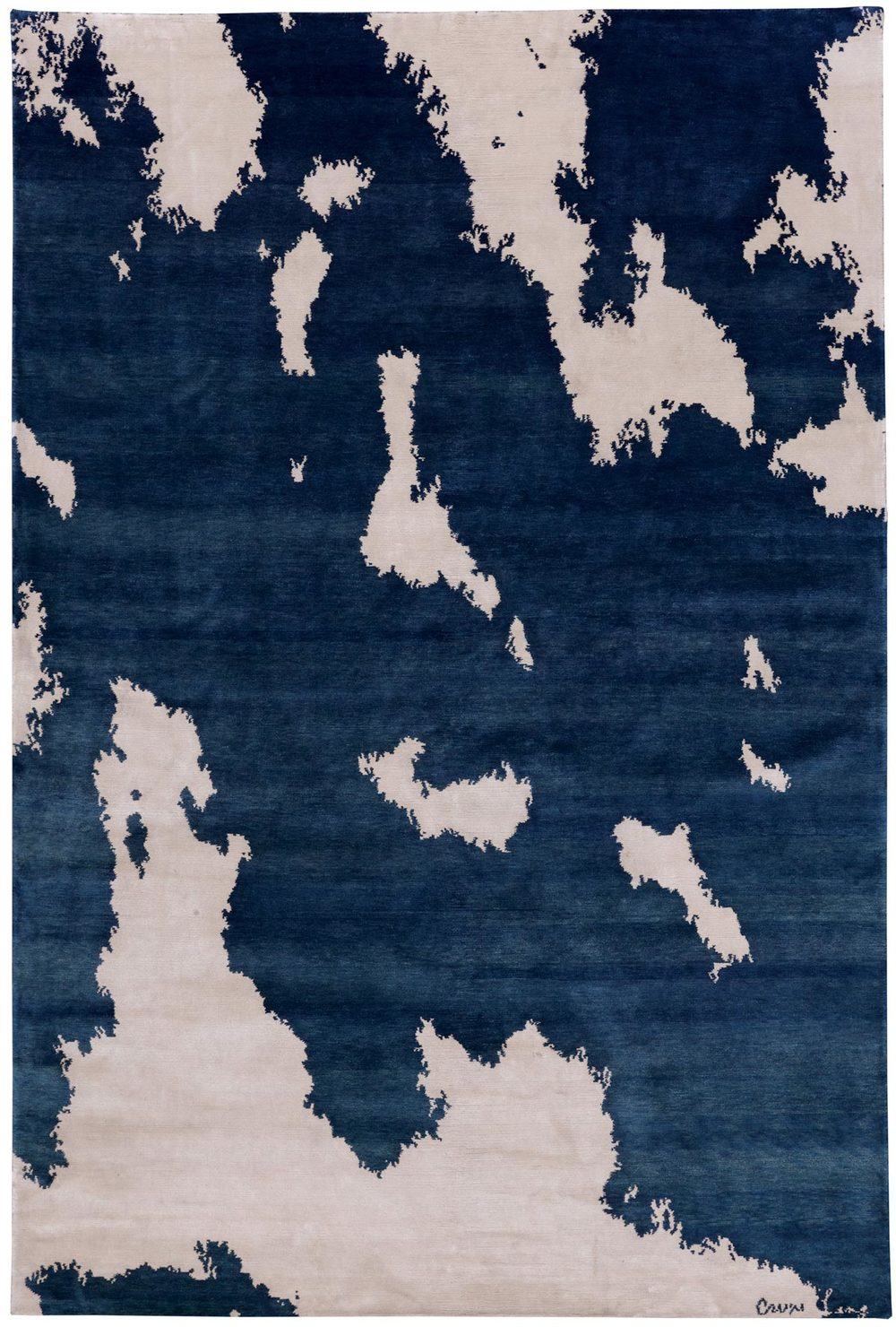 Rollers is a two color abstract design. With natural white and pure indigo the stark contrast creates a cool presence. Woven in genuine silk
