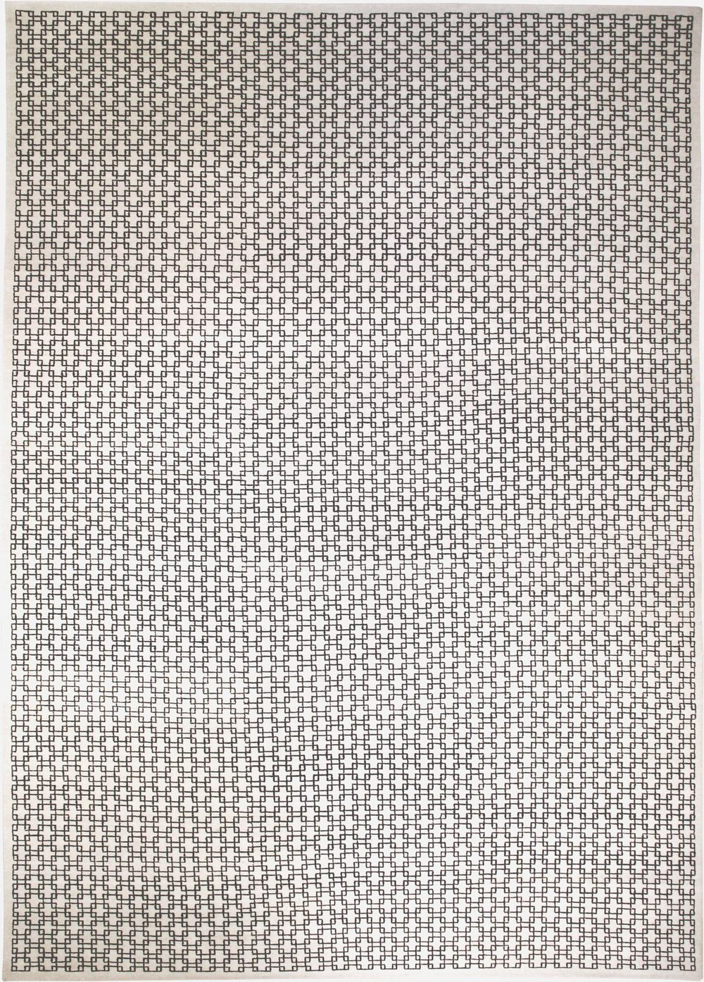 Floating tile is a geometric design of interlocking square shapes. Woven in all wool.