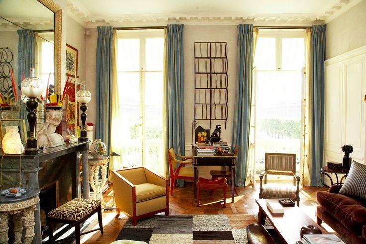 Interior shots of Jacques Grange's Paris apartment