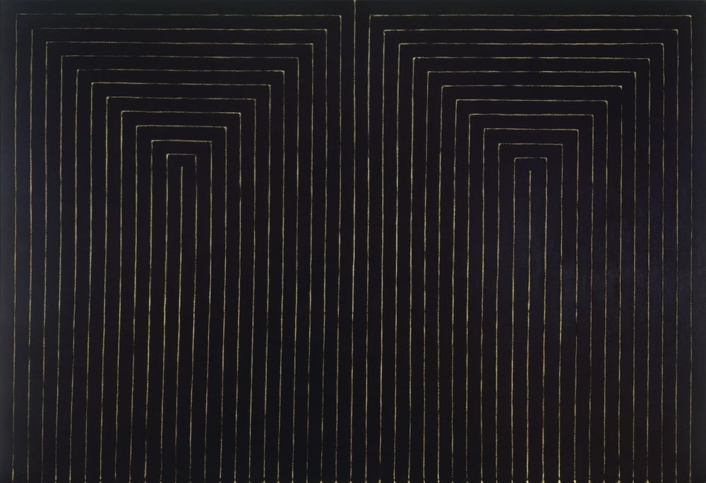 Frank Sella, Black Paintings, The Marriage of Reason and Squalor, II 1959. Enamel on canvas