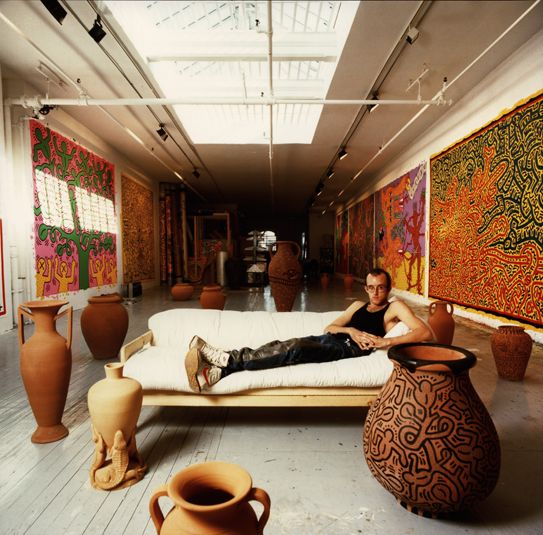 Keith Haring in his studio, 1985