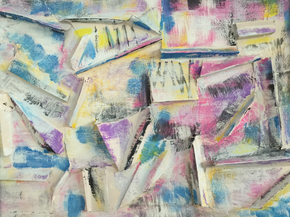"""FOLDING COLOR. Acrylic and watercolor raised collage on paper. 18""""x14""""."""