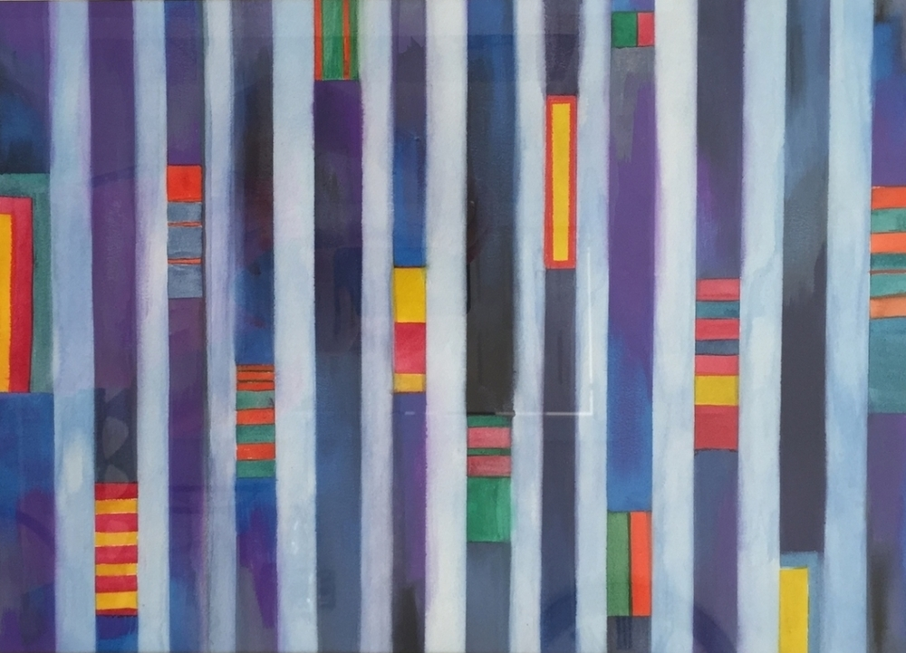 "MARINE STRIPES. Watercolor on paper. 18""x24""."
