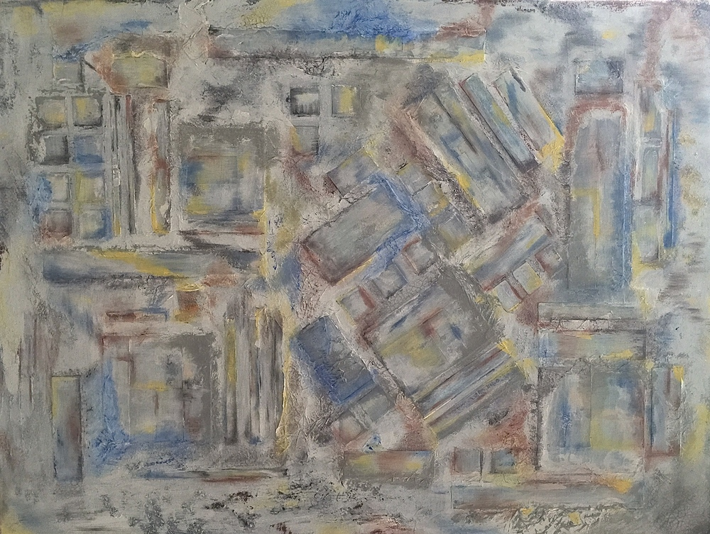 "BUILDING BLOCKS. Mixed media and collage on canvas. 30""x40""."