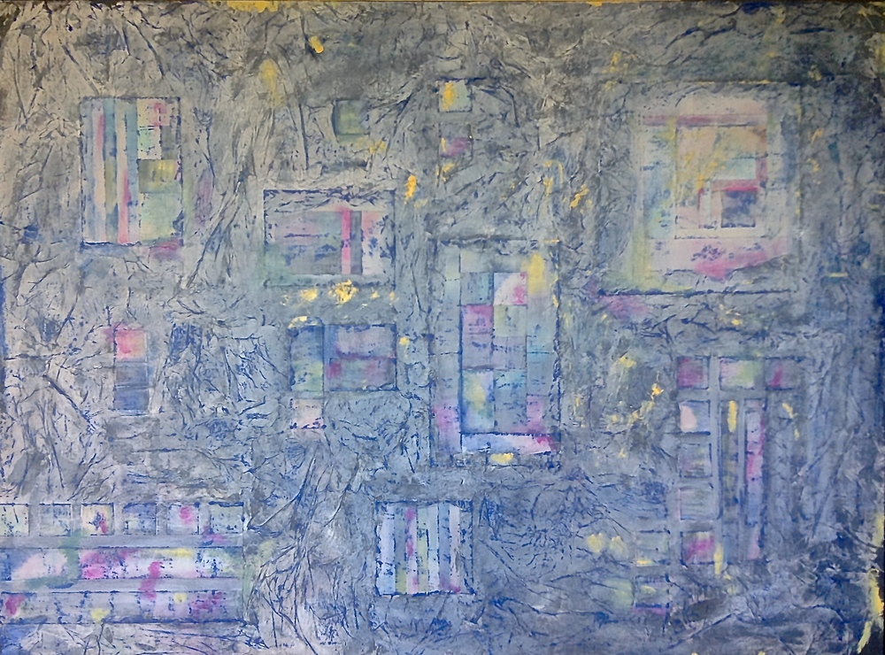 "SQUARE DANCE. Mixed media and collage on canvas. 30'x40""."