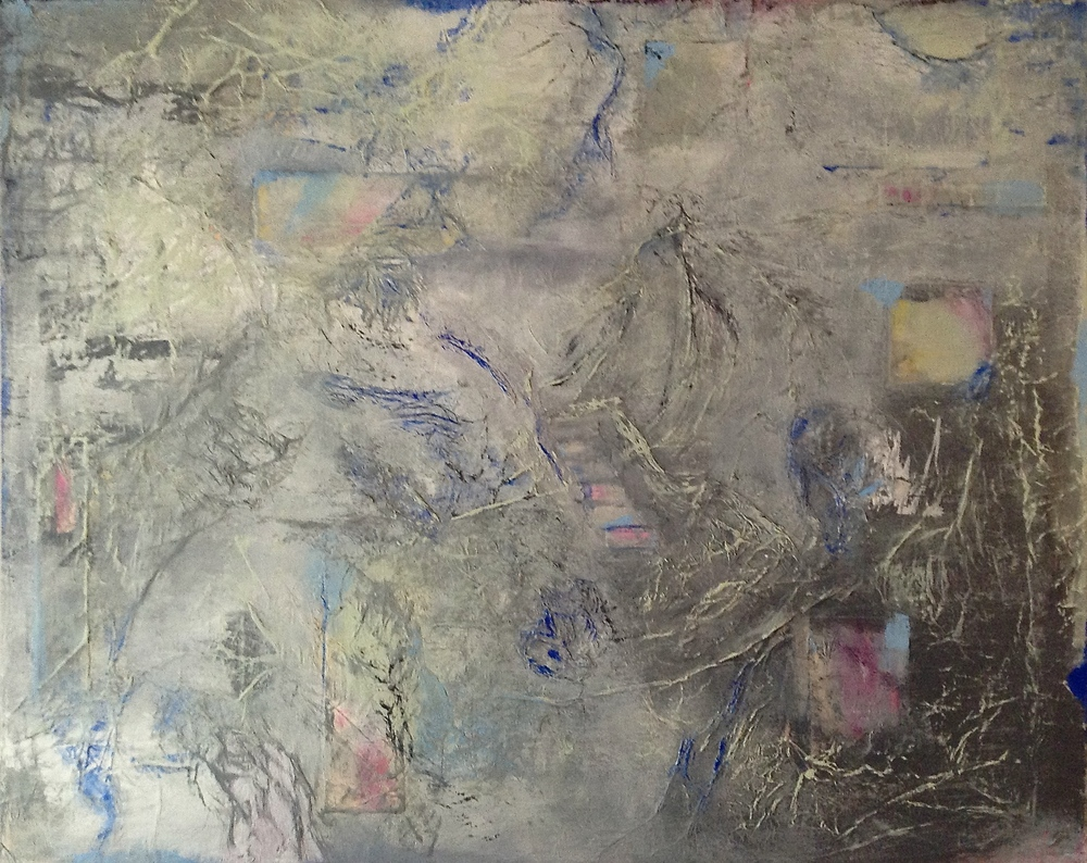 """PATHWAYS. Mixed media and collage on canvas. 24""""x30""""."""