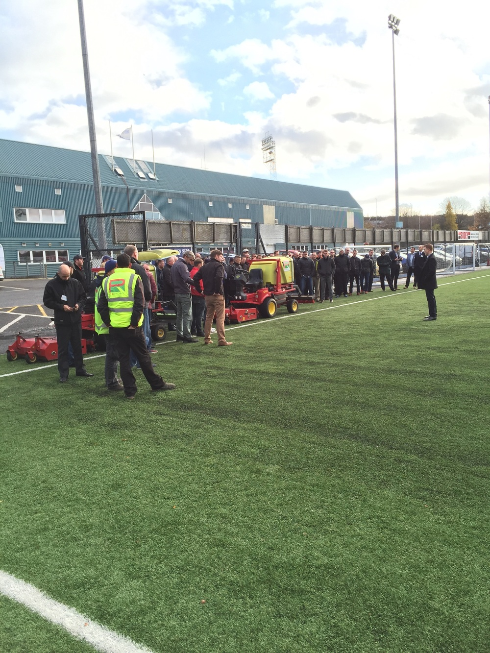 Delegates see a practical demonstration on the 3G pitch at McDiarmid Park