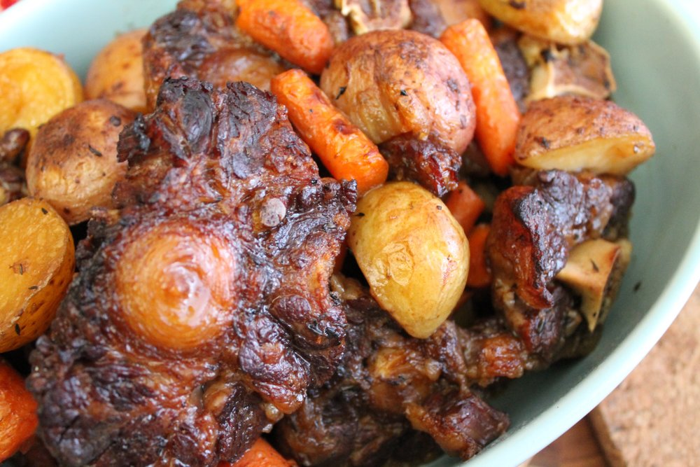 Meaty crispy oxtail and veggies