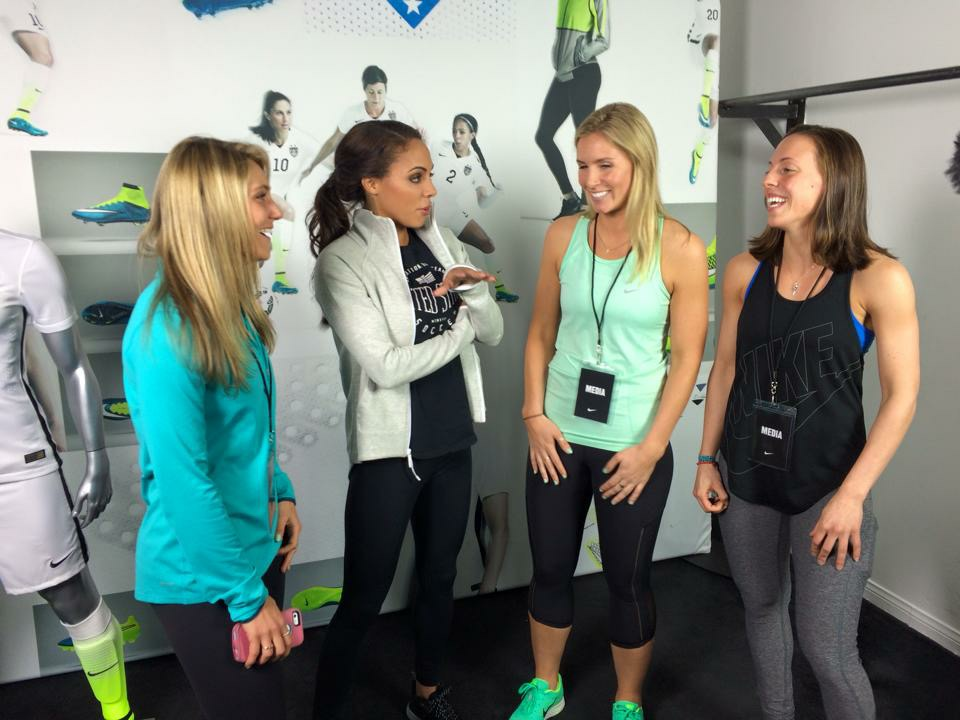 Team SGP chatting with Sydney Leroux at Nike event to unveil USWNT World Cup jerseys.