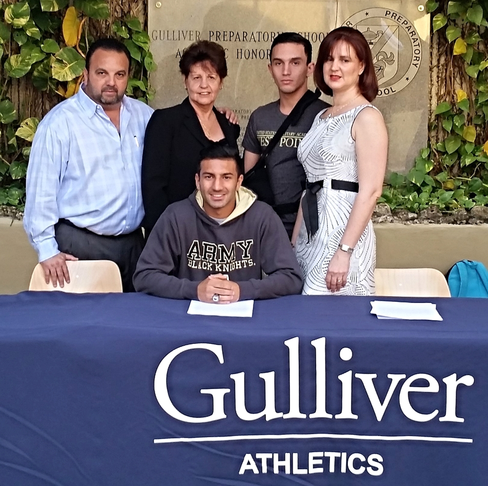 The Alvarez Family on National Signing Day (Left to right: Abraham Alvarez, Julia Hernandez, Bryan Alvarez, and Sandra Alvarez)
