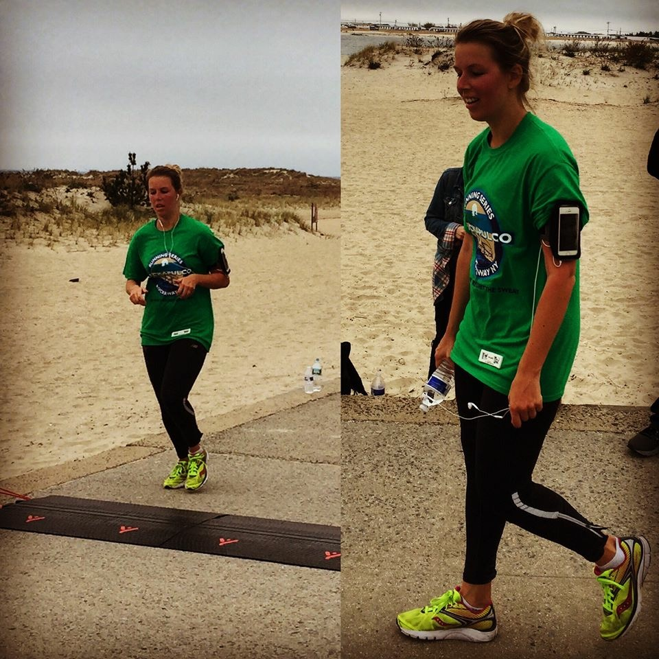 Completing her first half marathon in the Rockaways in NYC.