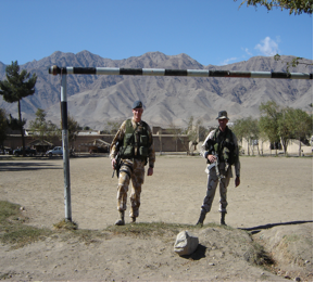 U.S. security forces pose behind makeshift goals. (Photo courtesy: Josh Walters)