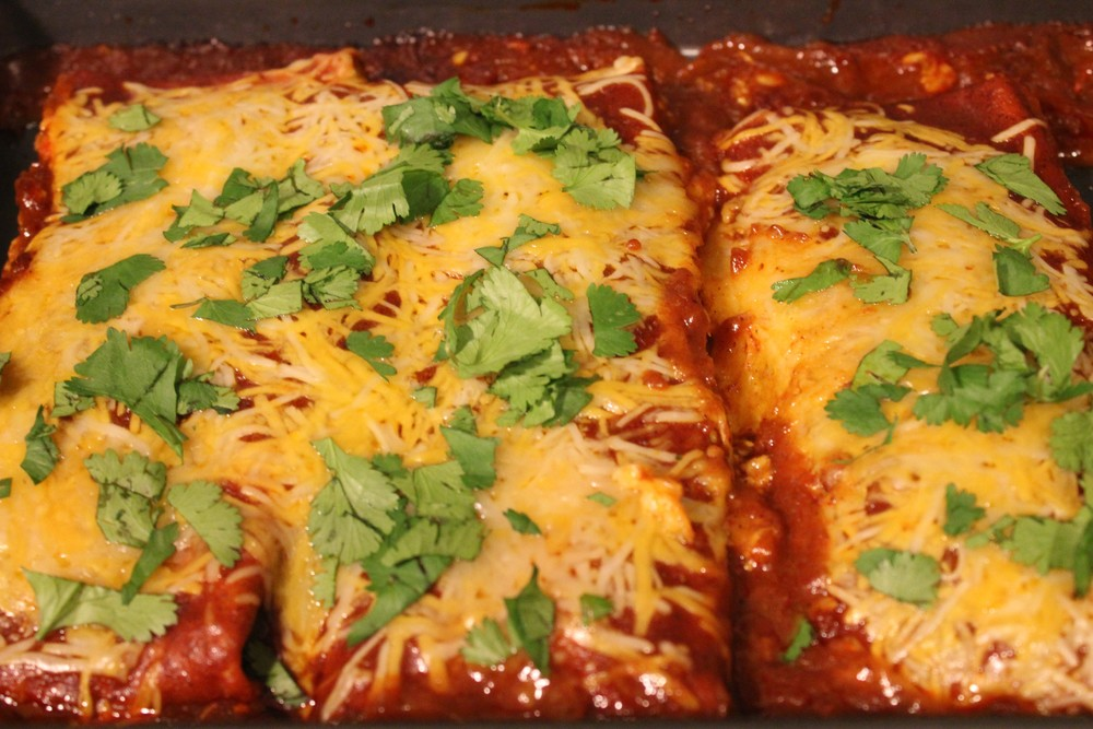 spinach mushroom and black bean enchiladas