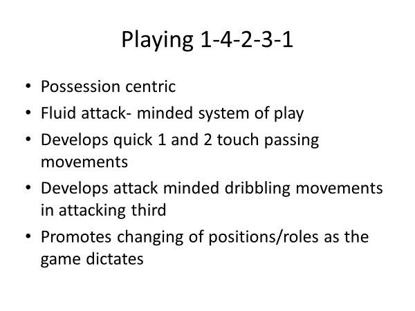 playing 1-4-2-3-1