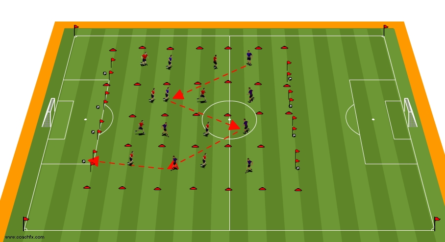 sideways on soccer corridor drill