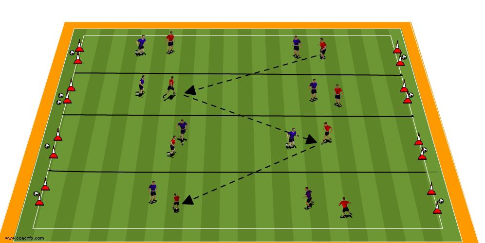 sideways on soccer vertical corridor exercise