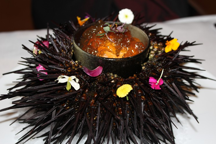 Uni is the new Foie Gras. One restaurant in LA, Chaya, has based its entire menu around the sea urchin (the edible part is actually its gonads...). Check out the article and Chef George Inoue's menu here.
