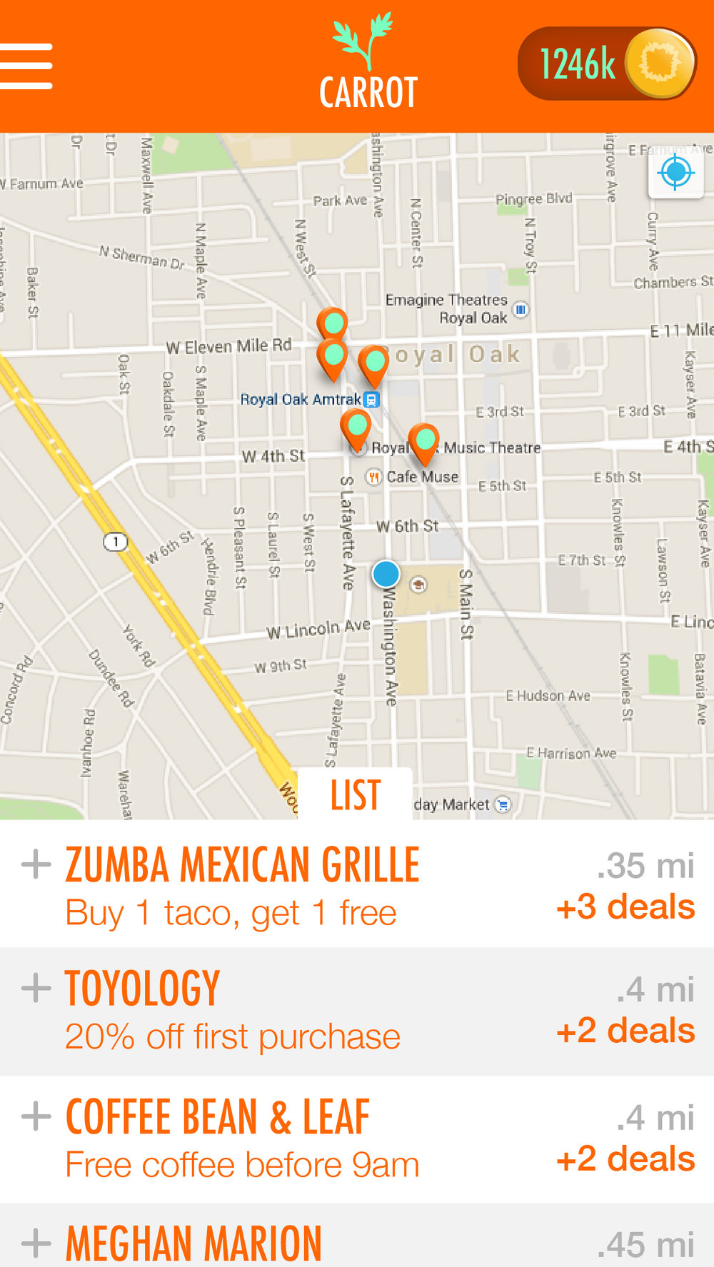 The home screen displays merchants and deals based on proximity in a map or list view.