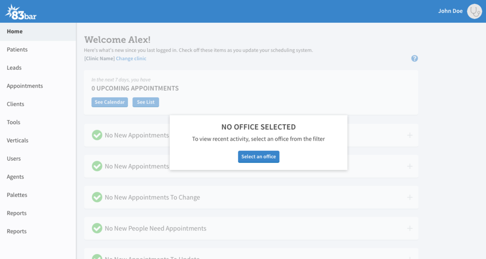 Most users have a specific office or default office. In the case where an office isn't selected, a handy callout will point the user to their filter.