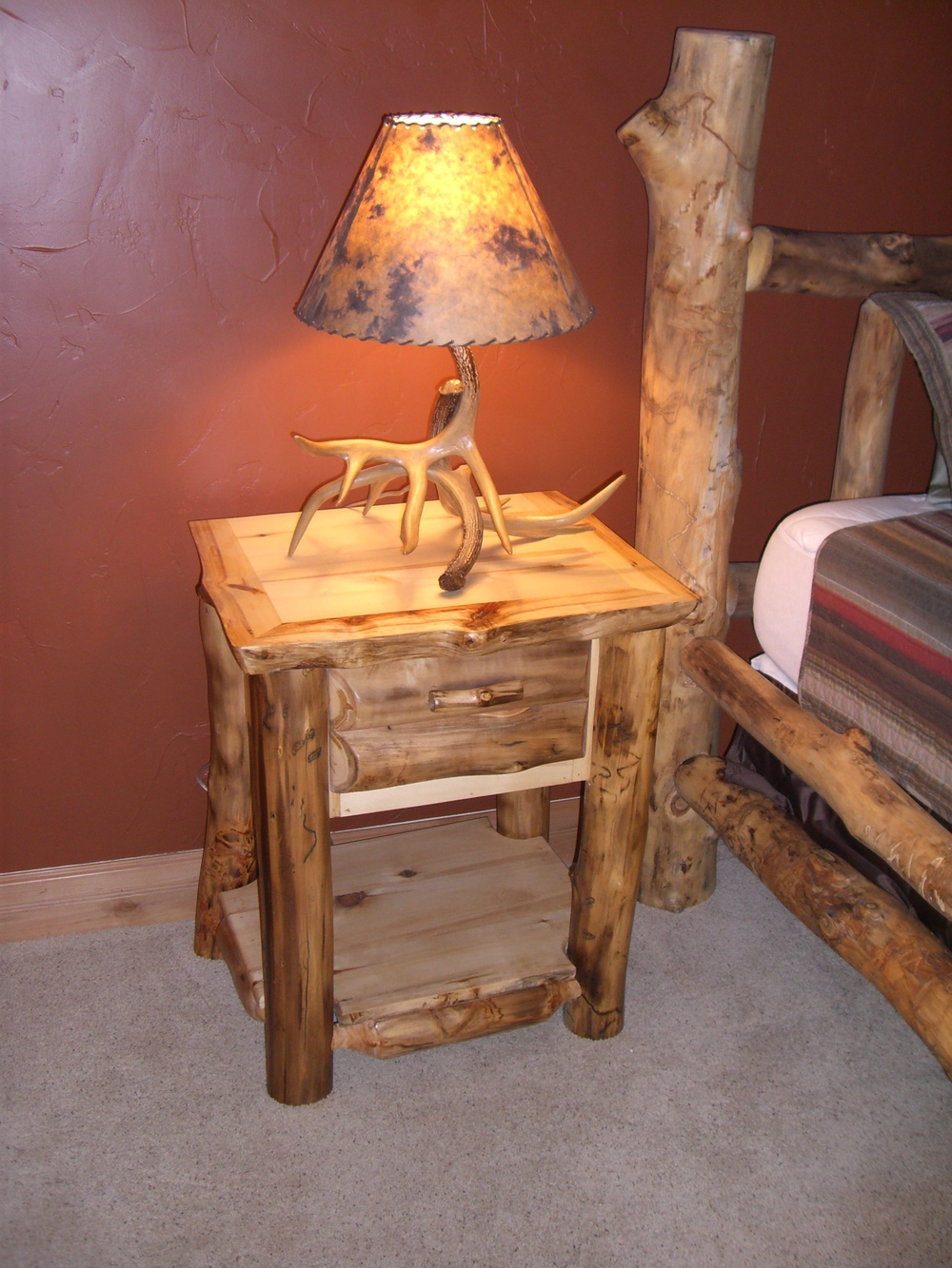 Nice Aspen Log One Drawer Night Stand With Half Log Drawer Fronts