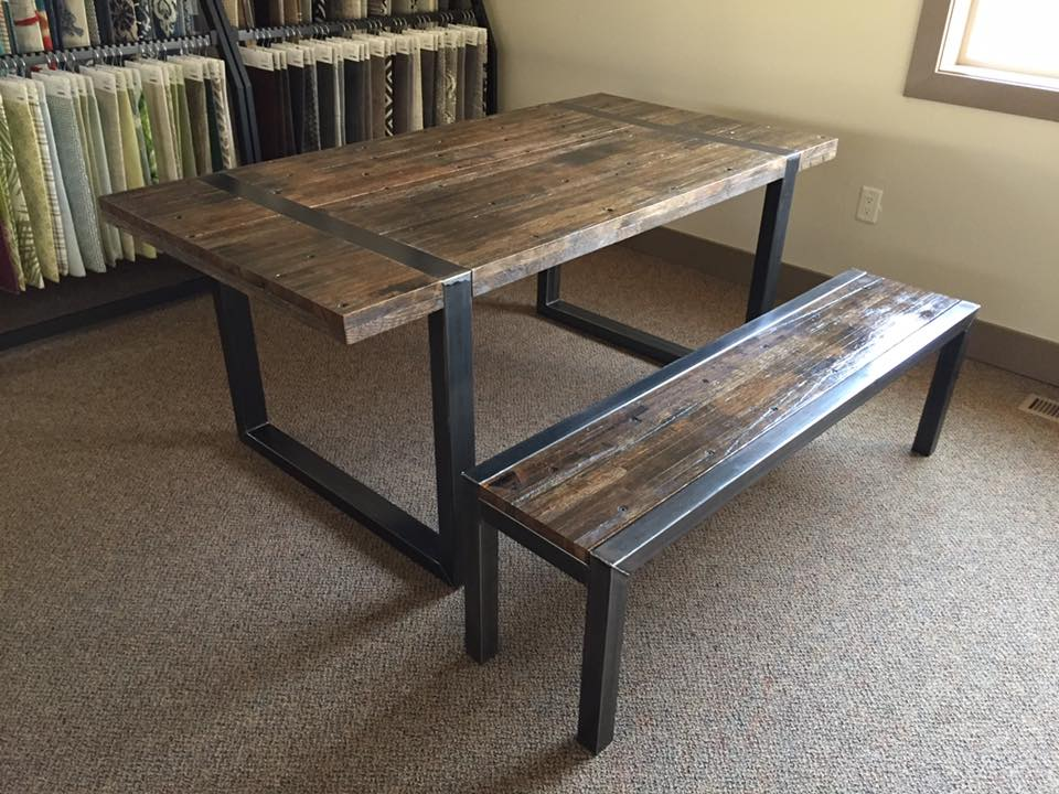 Attractive Reclaimed Semi Truck Flooring And Steel Dining Set