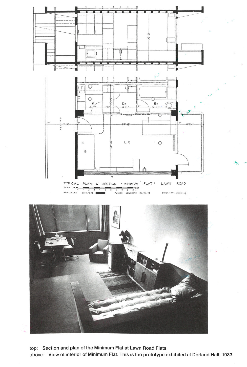 Original Isokon drawings and photograph. (From The Isokon Gallery book)