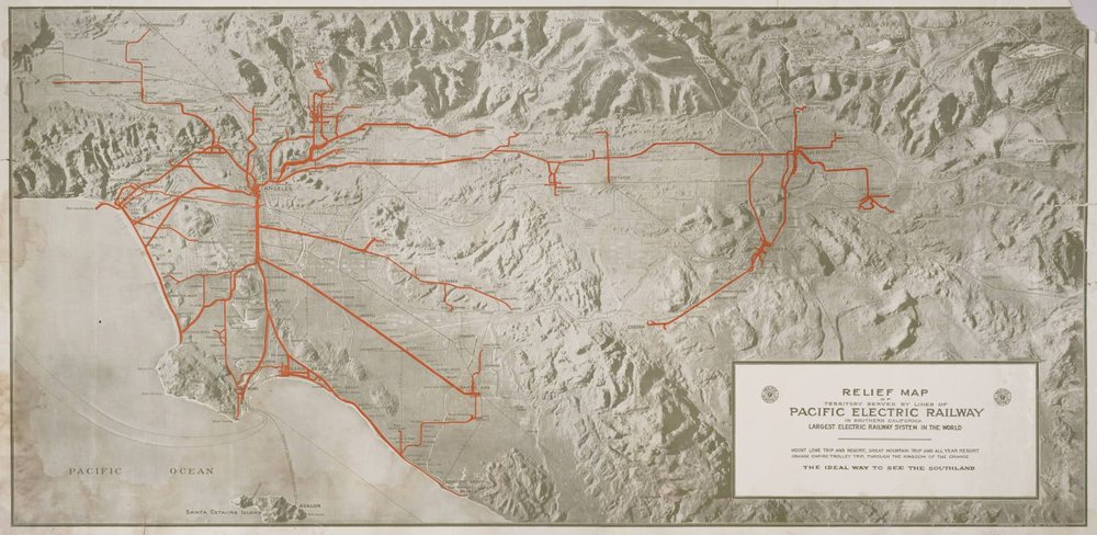 Pacific Electric railway Map 1920