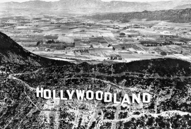 Hollywoodland 1923. In 1949 the letters 'LAND' were removed.