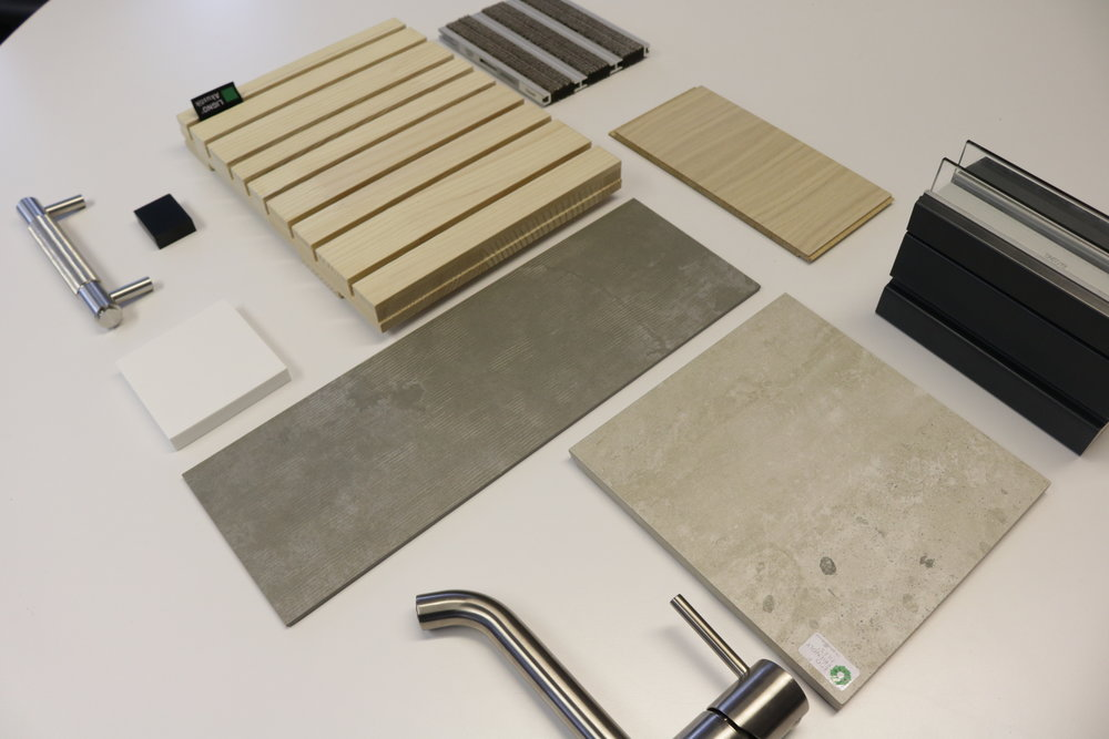 Initial material palette for an office refurbishment