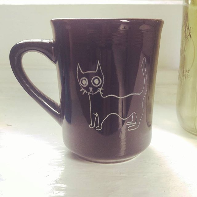 My cat is so great I've got a mug with her on it. #hobiecat #laser #ceramics #catsofinstagram