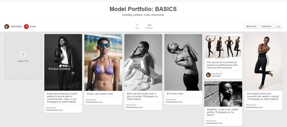 The first of many boards on my Pinterest: basic essentials for a portfolio