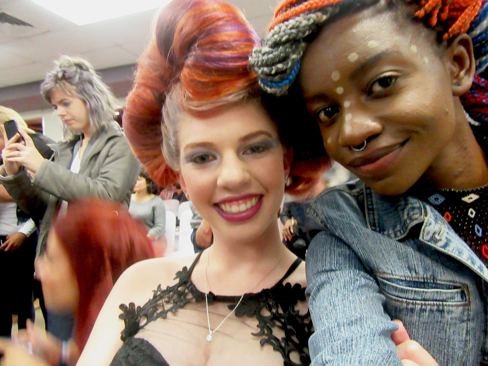 Jordan and I selfie-ing it up after she was done modelling the 'Catwalk' category- also for beauty.