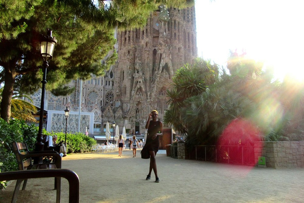 Me walking away from overpriced selfie sticks at the Sagrada Familia.