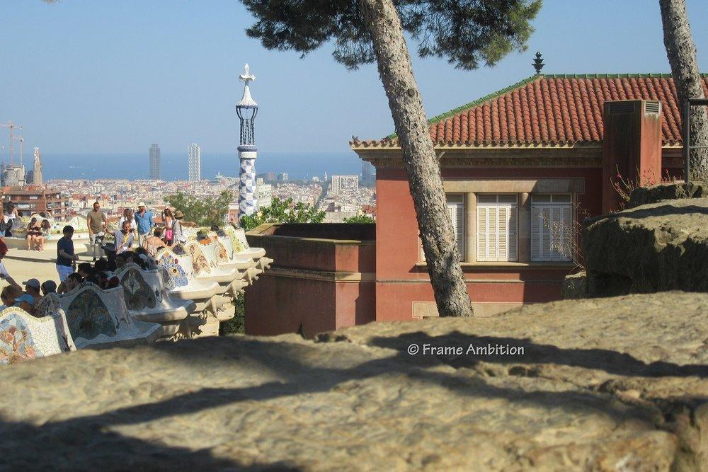 Parc Guell Mosaic Barcelona Ocean View Gaudi.JPG