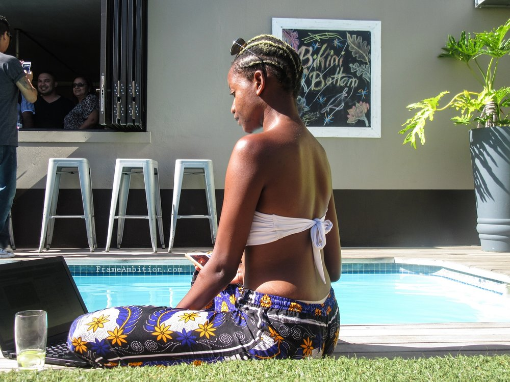 Working poolside at  Never@Home Hostel  - Cape Town, South Africa