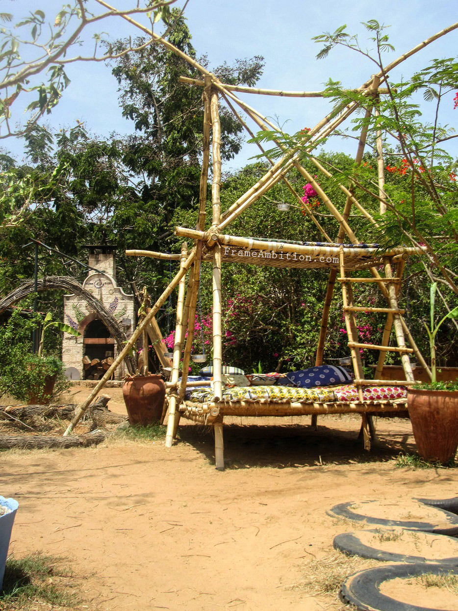 Distant Relatives Ecolodge  have pyramid day-beds and a pizza oven - Kilifi, Kenya