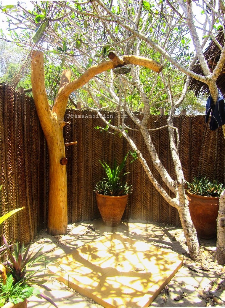 outdoor open-air shower at kilifi eco lodge