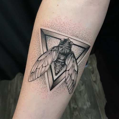 d99924dad Loved tattooing this piece because the sound of cicadas is so  quintessentially summer for us in