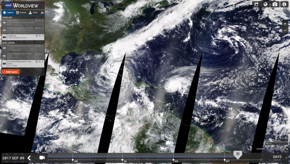 NASA's EOSDIS Worldview product, corrected reflectance- true colour. Hurricanes Irma and Jose track towards land.