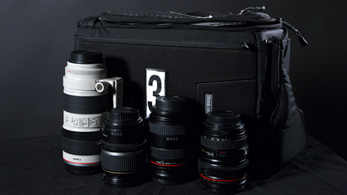 Lenses come in a compact ThinkTank bag that you can wear like a backpack..