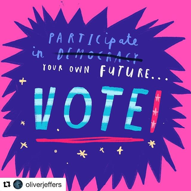 Repost from one of our fave authors @oliverjeffers; go vote!! 📮🎉🗳❤️‼️