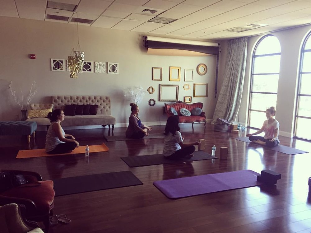 Prenatal yoga class taught by Carrie