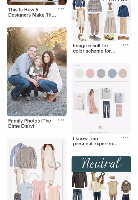 "Screen shot of what popped up in Pinterest when I typed ""neutral color ideas for family photos."""