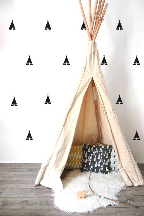 Kids Room Decor Black Wall Stickers Teepee — TINYFRENCHY