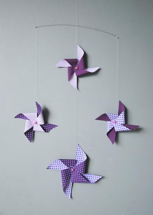 Baby Handmade Origami Mobile Windmills Purple Tinyfrenchy