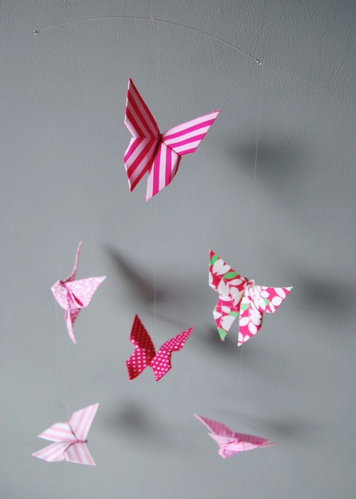 Baby Handmade Origami Mobile Butterflies Pink Tinyfrenchy