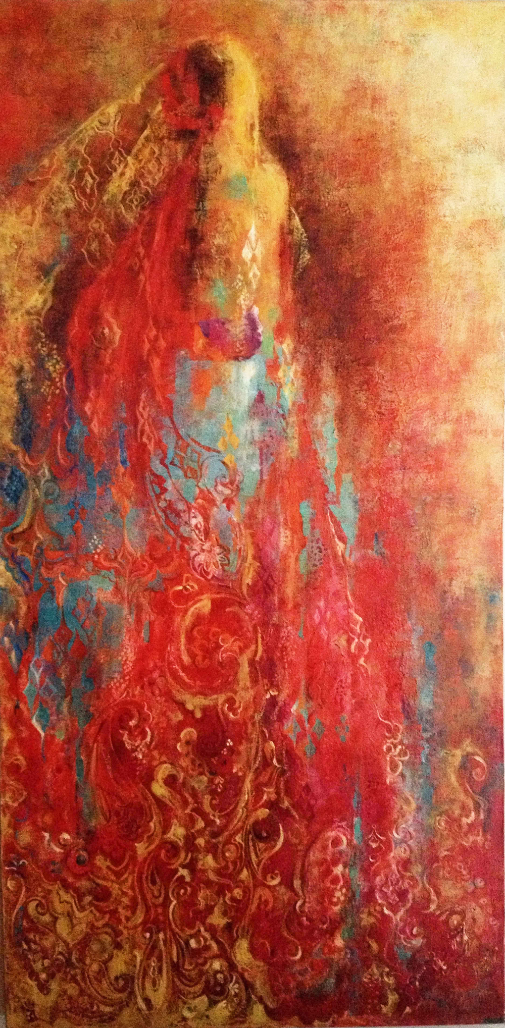 "Leyla, 2008.   Acrylic and Oil on canvas, 24"" x 48""."