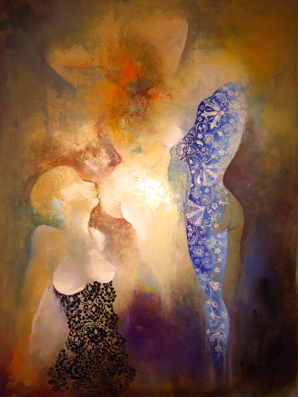 "Party of Three, 2014.   Acrylic and Oil on canvas, 30"" x 40""."