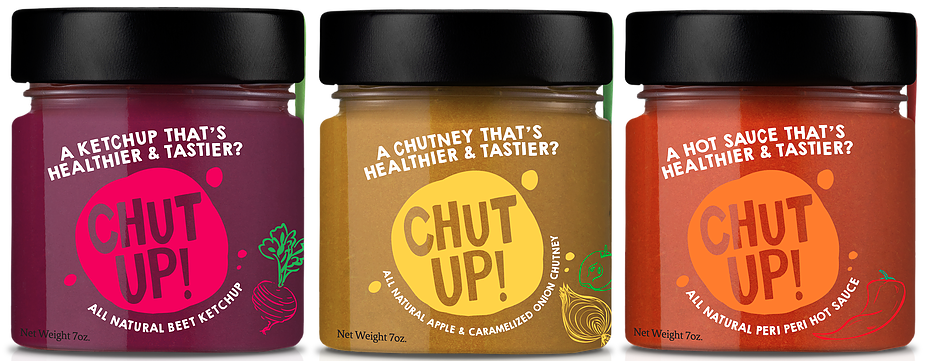 Chut Up Condiments: Beet Ketchup, Apple & Caramelized Onion Chutney, Peri Peri Hot Sauce